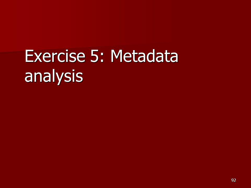 Exercise 5: Metadata analysis