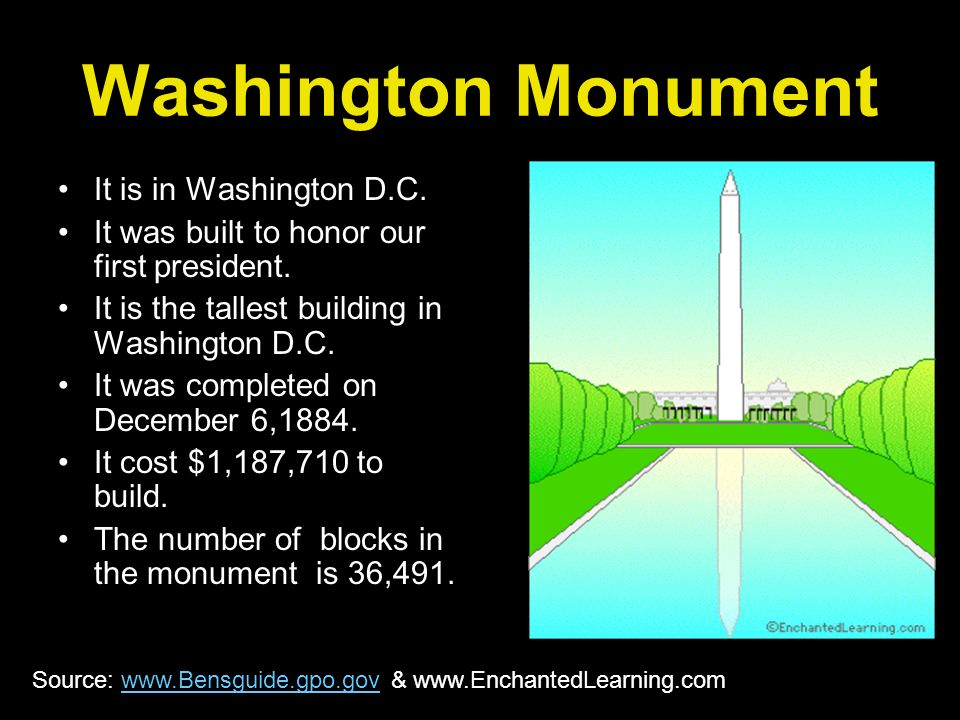 Washington Monument It is in Washington D.C.