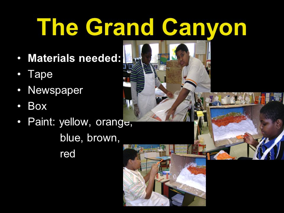 The Grand Canyon Materials needed: Tape Newspaper Box