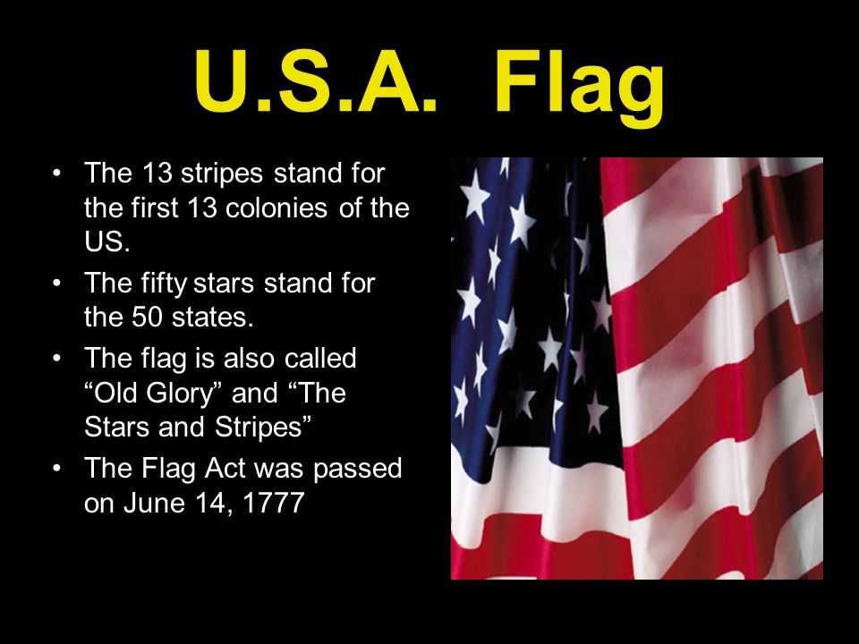 U.S.A. Flag The 13 stripes stand for the first 13 colonies of the US.