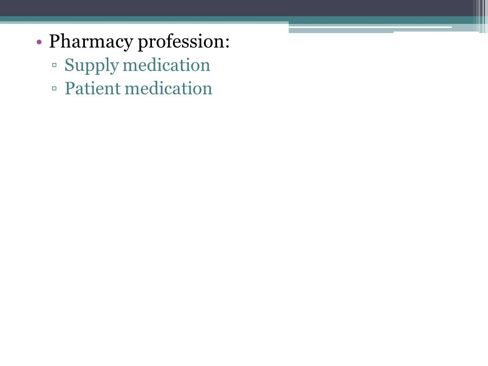 Pharmacy profession: Supply medication Patient medication