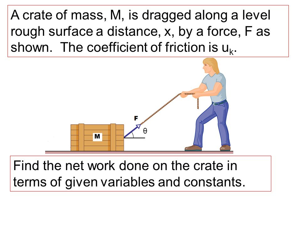 A crate of mass, M, is dragged along a level rough surface a distance, x, by a force, F as shown. The coefficient of friction is uk.