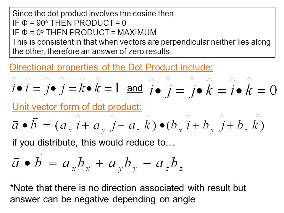 Directional properties of the Dot Product include: