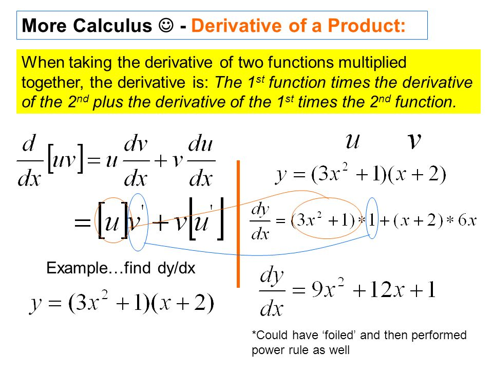 More Calculus  - Derivative of a Product: