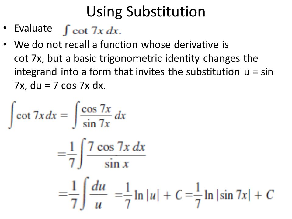 Using Substitution Evaluate