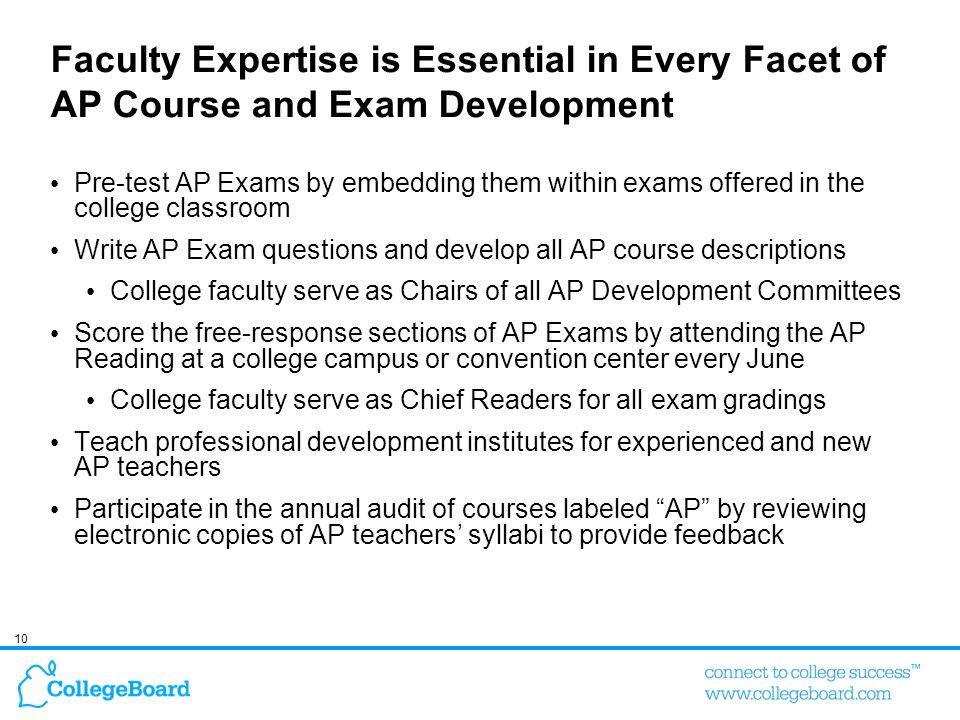 Faculty Expertise is Essential in Every Facet of AP Course and Exam Development