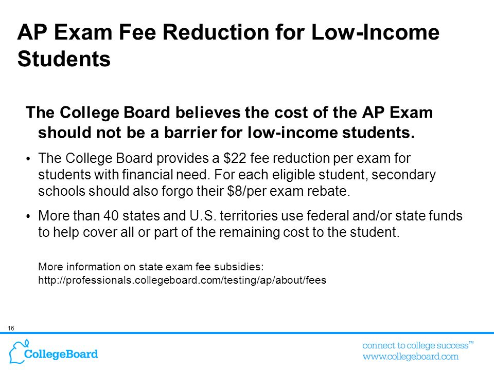 AP Exam Fee Reduction for Low-Income Students