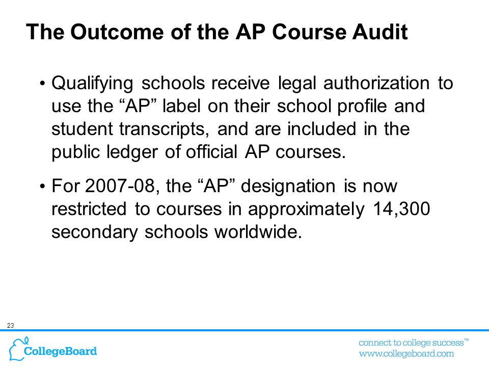 The Outcome of the AP Course Audit