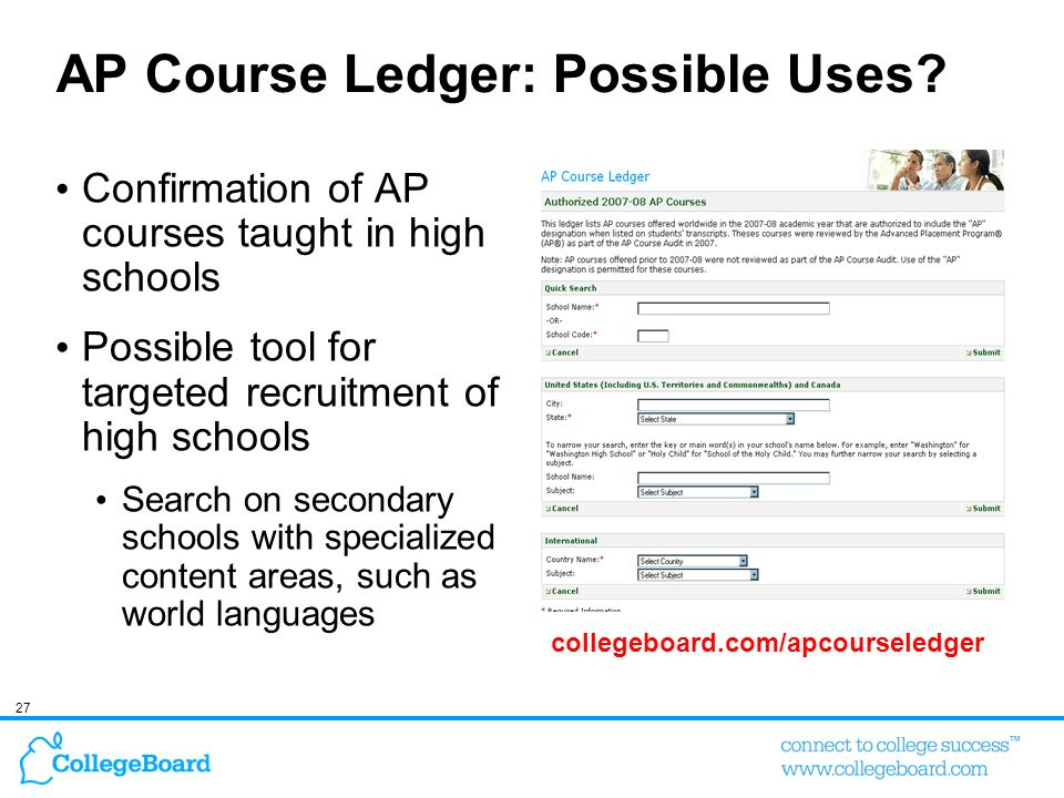 AP Course Ledger: Possible Uses