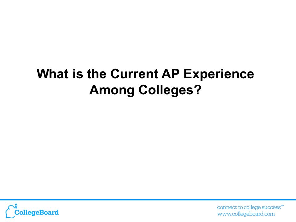 What is the Current AP Experience Among Colleges