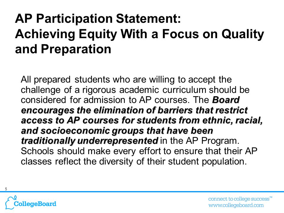 AP Participation Statement: Achieving Equity With a Focus on Quality and Preparation