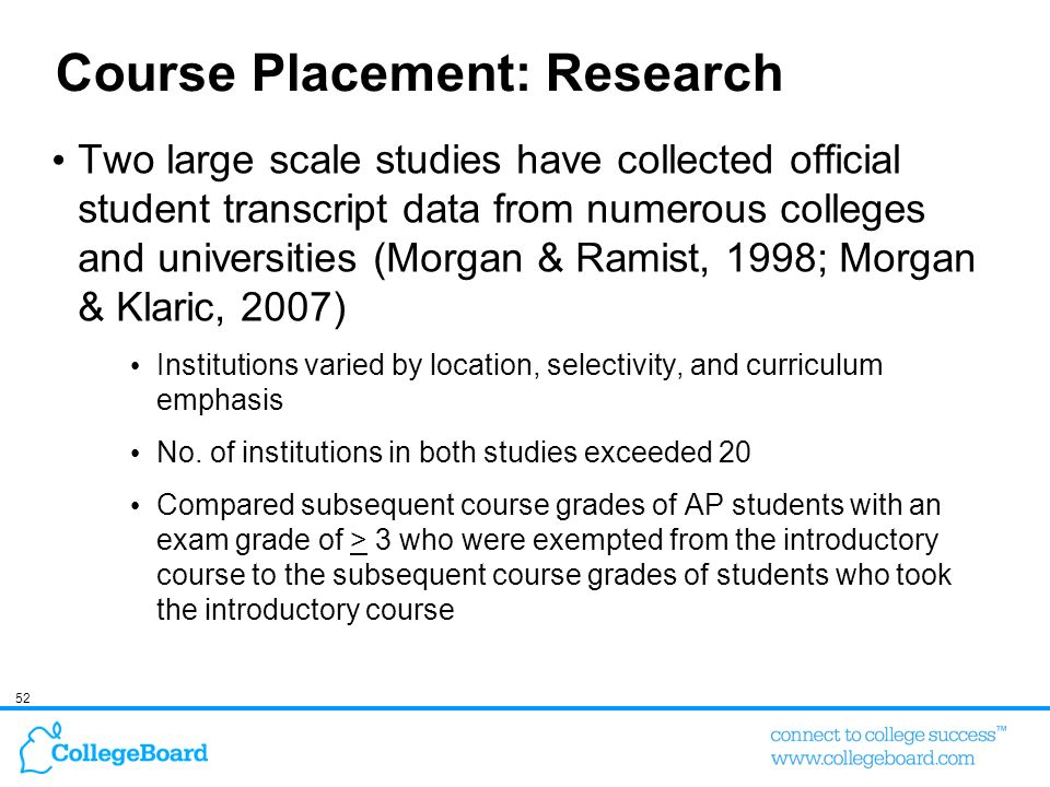 Course Placement: Research