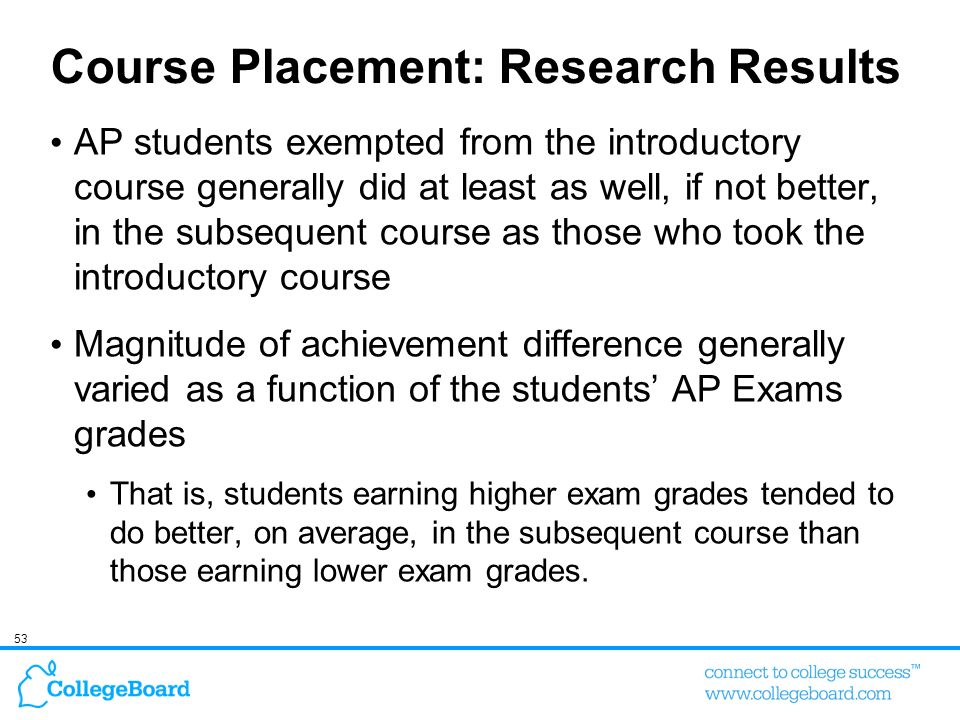 Course Placement: Research Results