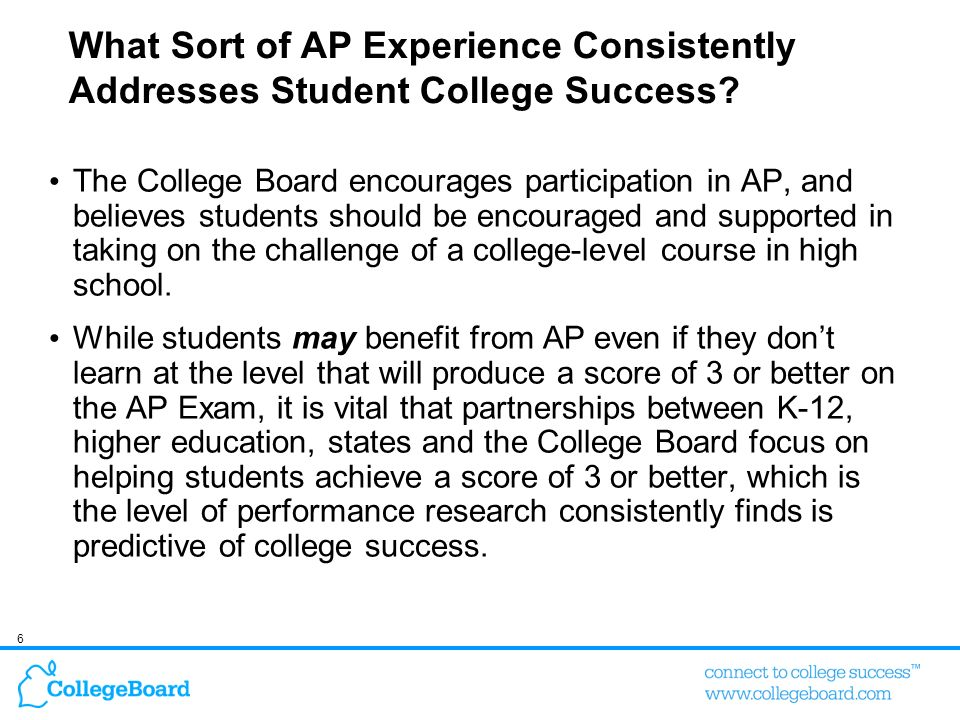 What Sort of AP Experience Consistently Addresses Student College Success