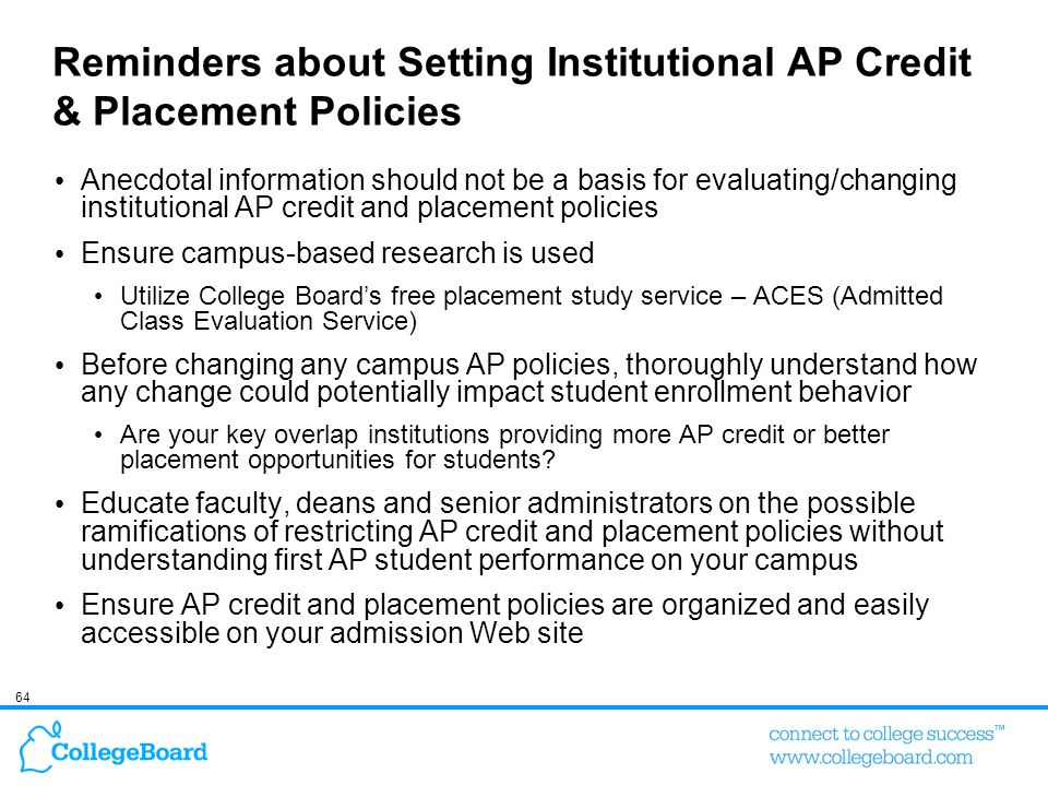Reminders about Setting Institutional AP Credit & Placement Policies