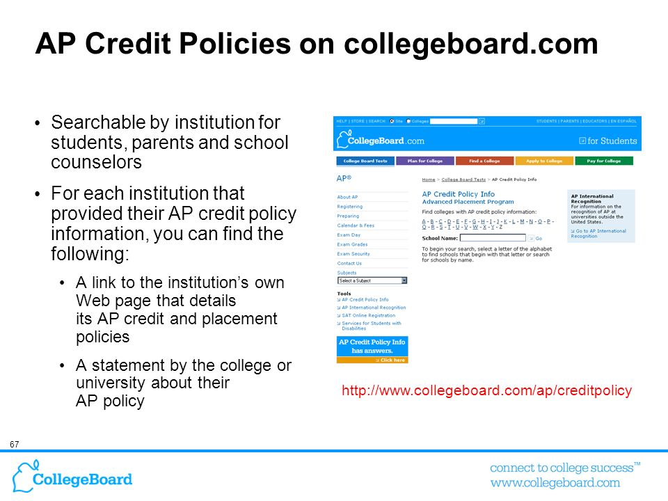AP Credit Policies on collegeboard.com