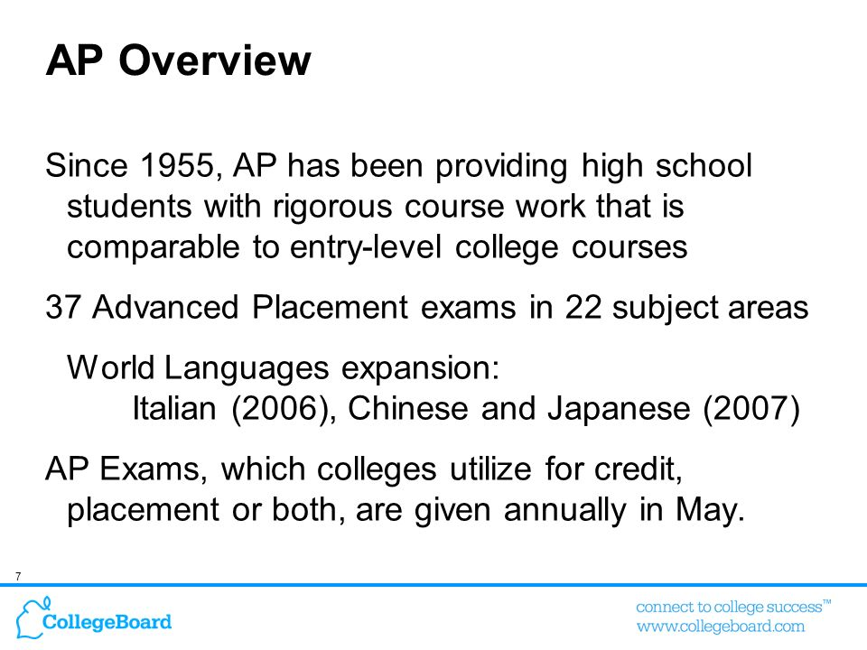 AP Overview Since 1955, AP has been providing high school students with rigorous course work that is comparable to entry-level college courses.