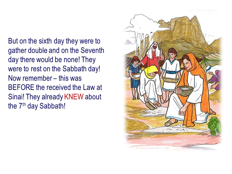But on the sixth day they were to gather double and on the Seventh day there would be none.