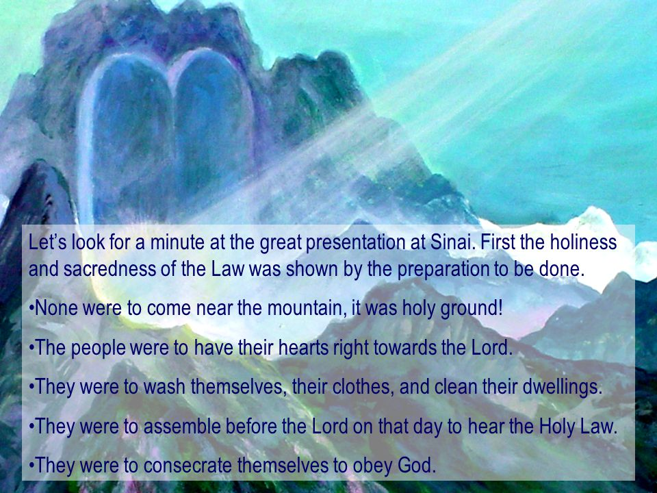 Let's look for a minute at the great presentation at Sinai
