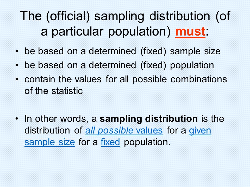 The (official) sampling distribution (of a particular population) must: