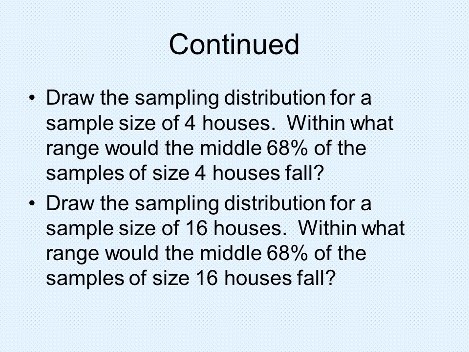 Continued Draw the sampling distribution for a sample size of 4 houses. Within what range would the middle 68% of the samples of size 4 houses fall