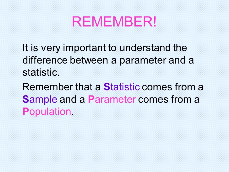 REMEMBER! It is very important to understand the difference between a parameter and a statistic.