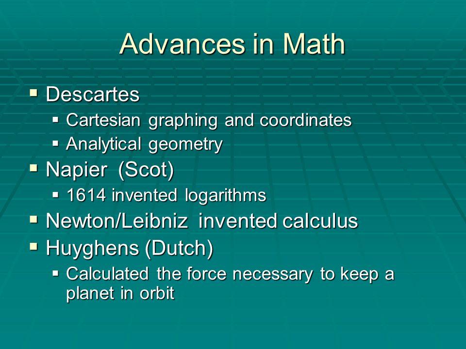 Advances in Math Descartes Napier (Scot)