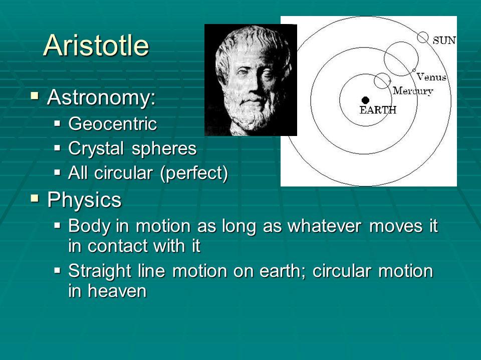 Aristotle Astronomy: Physics Geocentric Crystal spheres