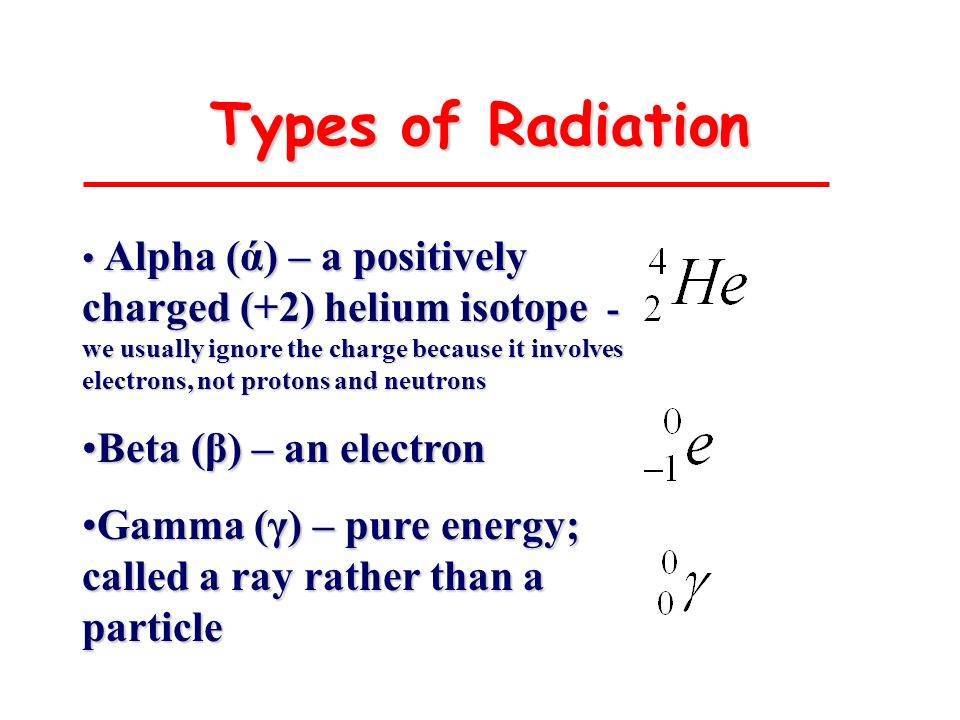 Types of Radiation Beta (β) – an electron