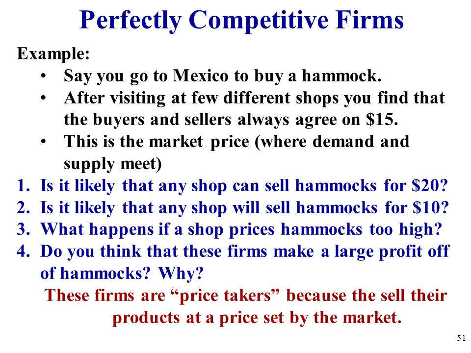 Perfectly Competitive Firms