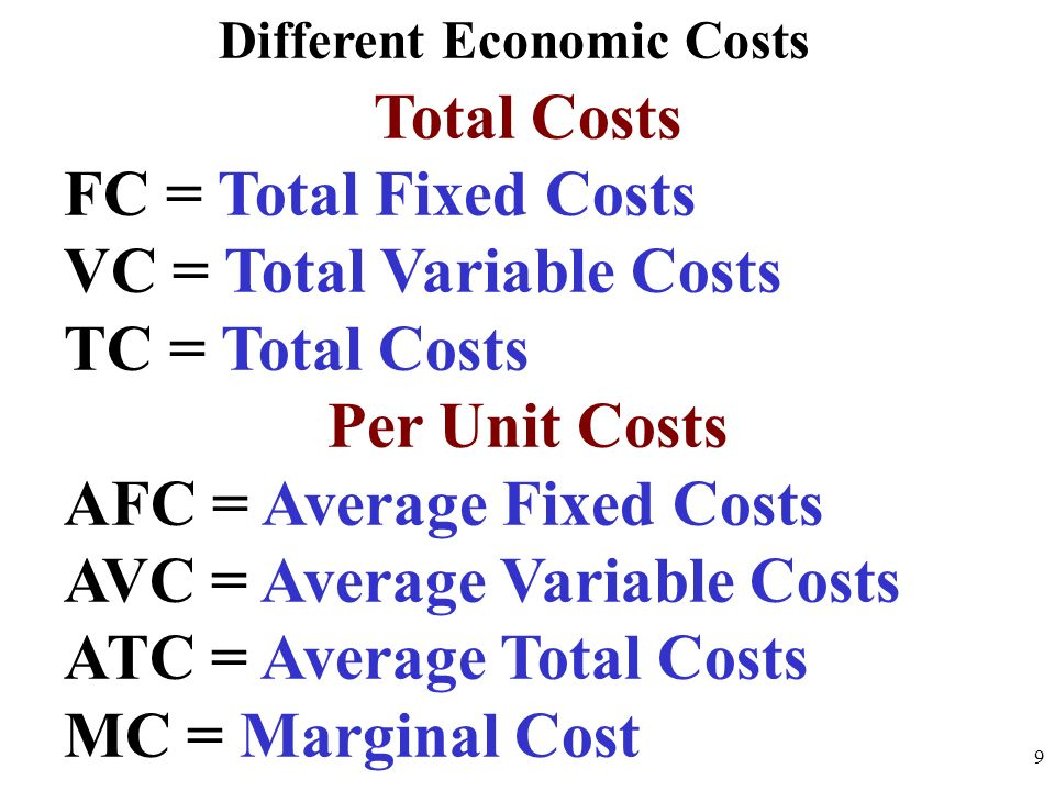 Different Economic Costs