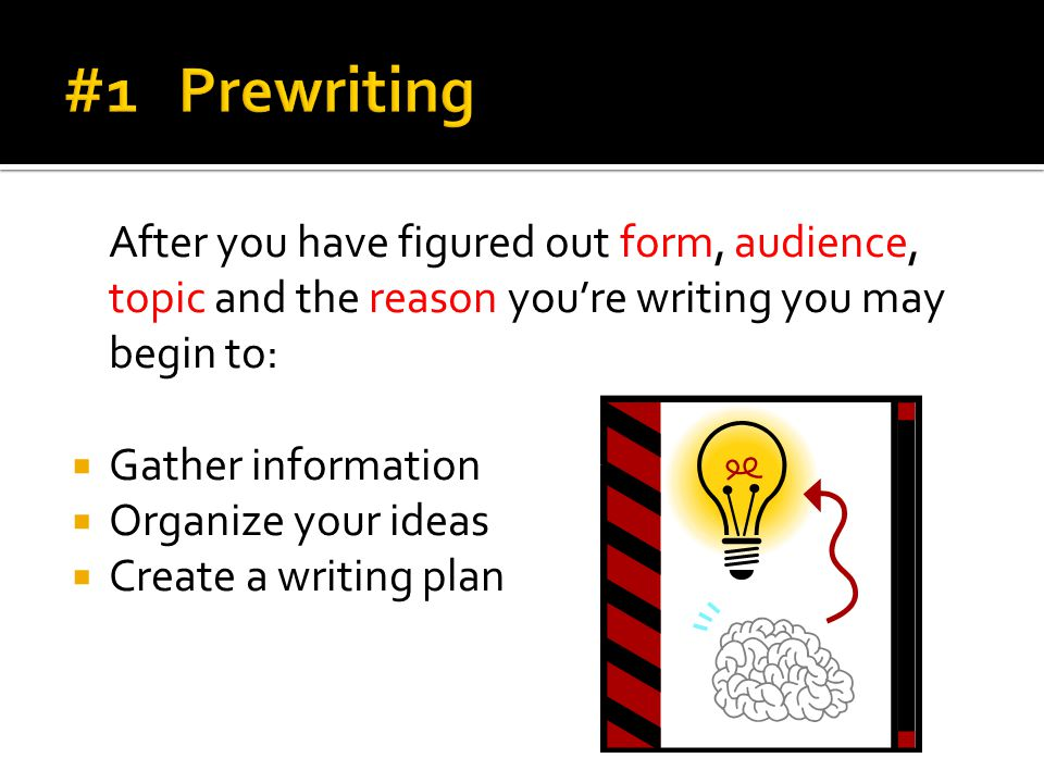 #1 Prewriting After you have figured out form, audience, topic and the reason you're writing you may begin to: