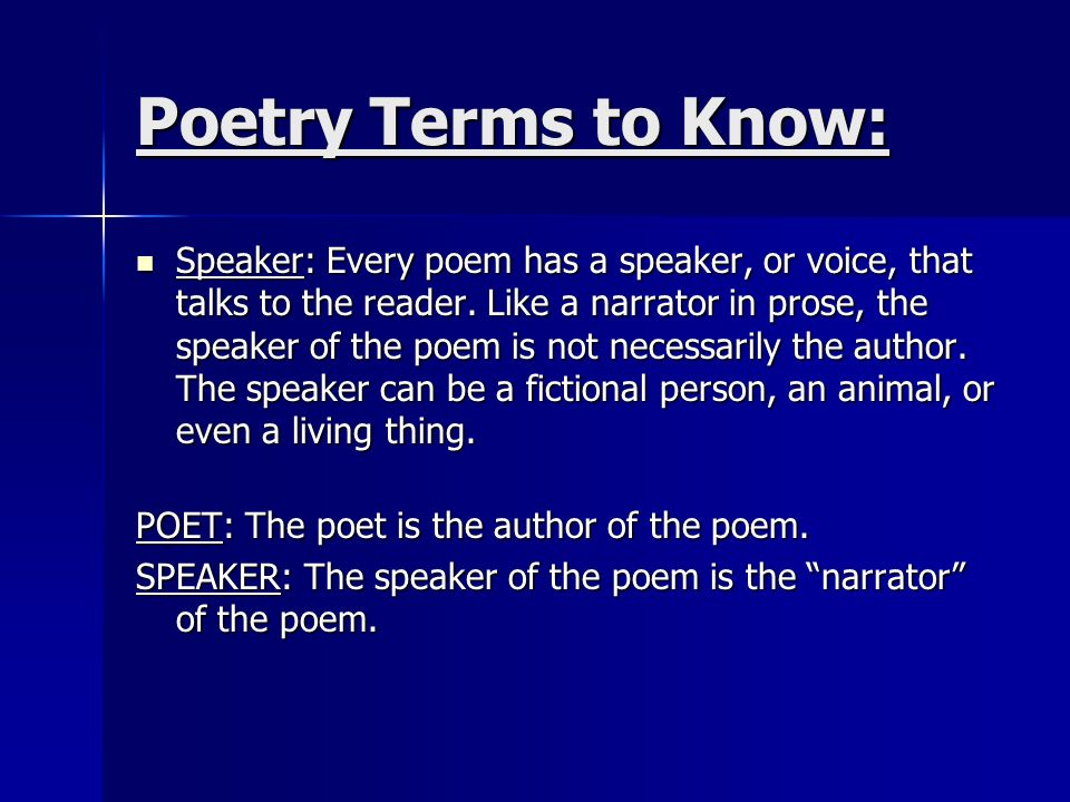 Poetry Terms to Know: