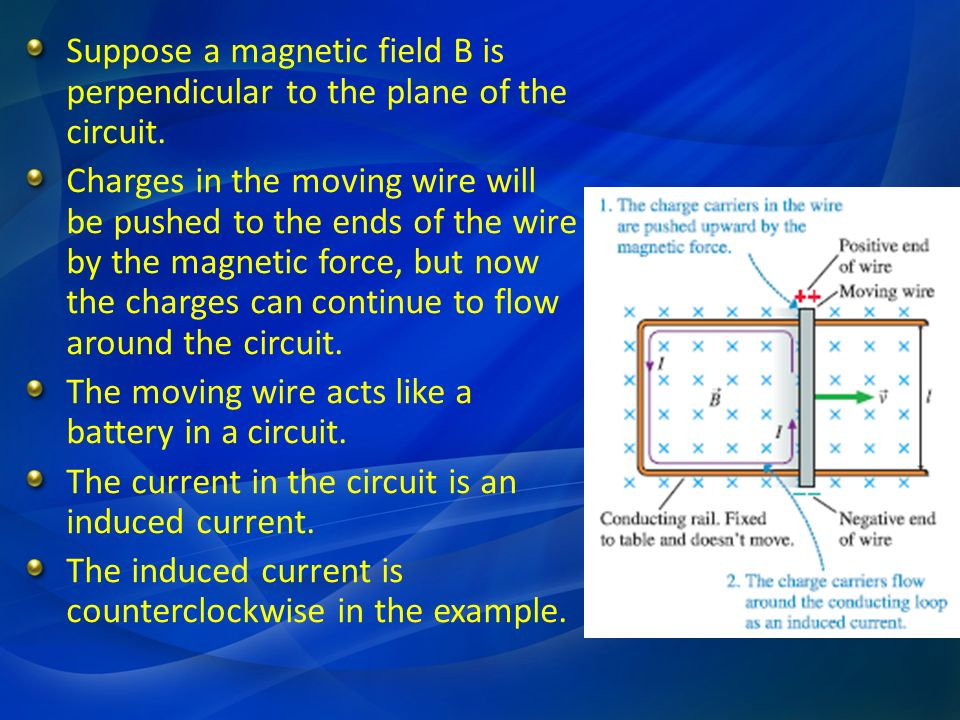Suppose a magnetic field B is perpendicular to the plane of the circuit.