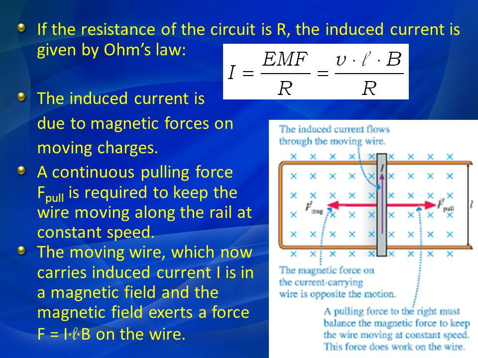 If the resistance of the circuit is R, the induced current is given by Ohm's law: