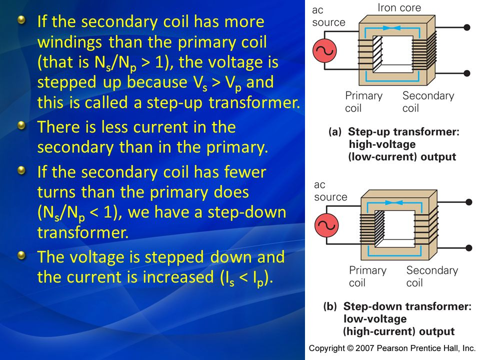 If the secondary coil has more windings than the primary coil (that is Ns/Np > 1), the voltage is stepped up because Vs > Vp and this is called a step-up transformer.