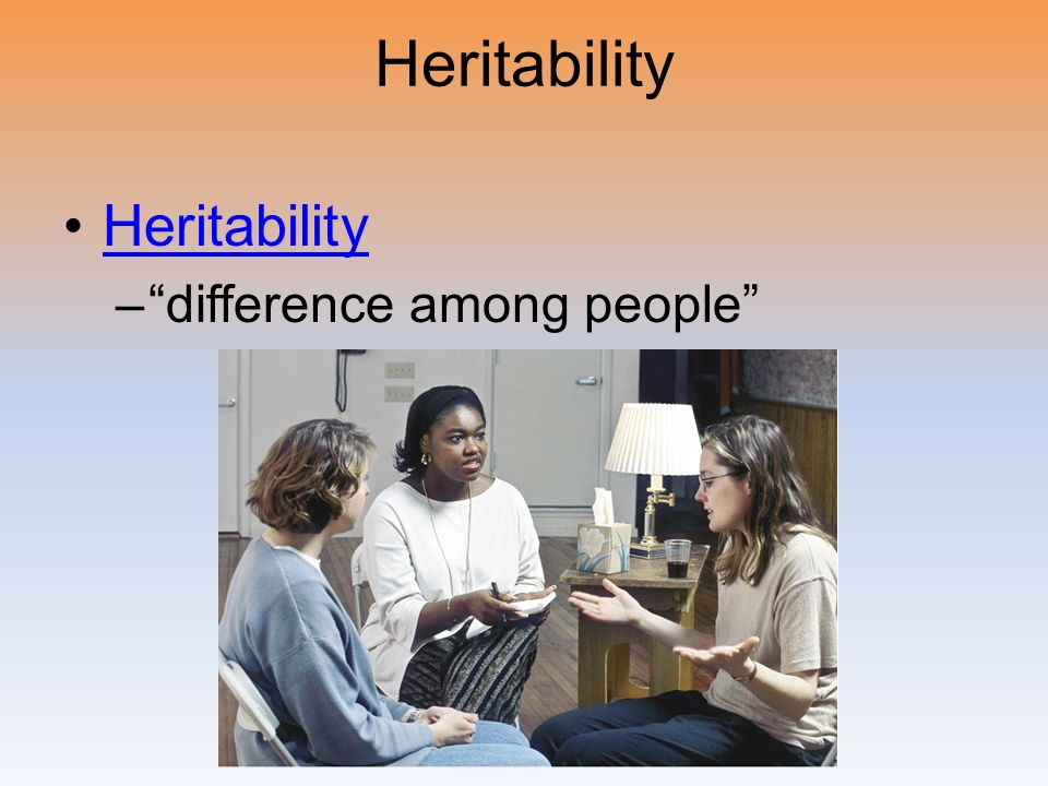 Heritability Heritability difference among people