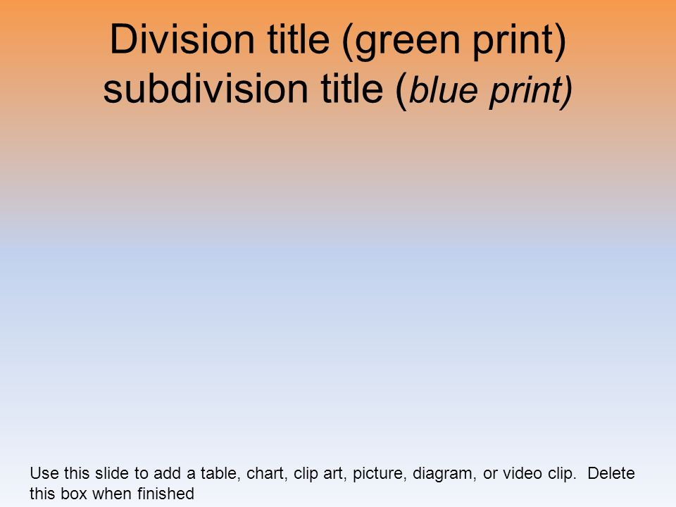 Division title (green print) subdivision title (blue print)