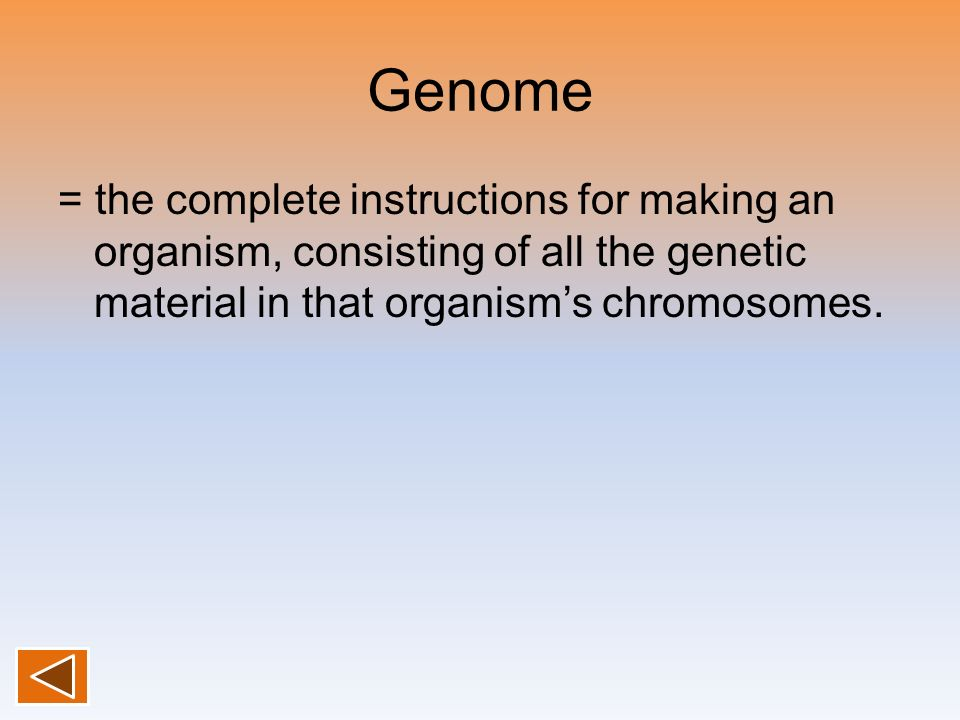 Genome= the complete instructions for making an organism, consisting of all the genetic material in that organism's chromosomes.