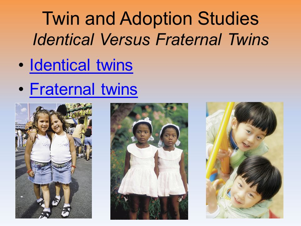 Twin and Adoption Studies Identical Versus Fraternal Twins