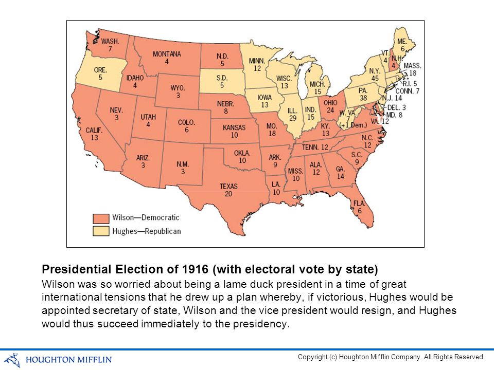 Presidential Election of 1916 (with electoral vote by state)