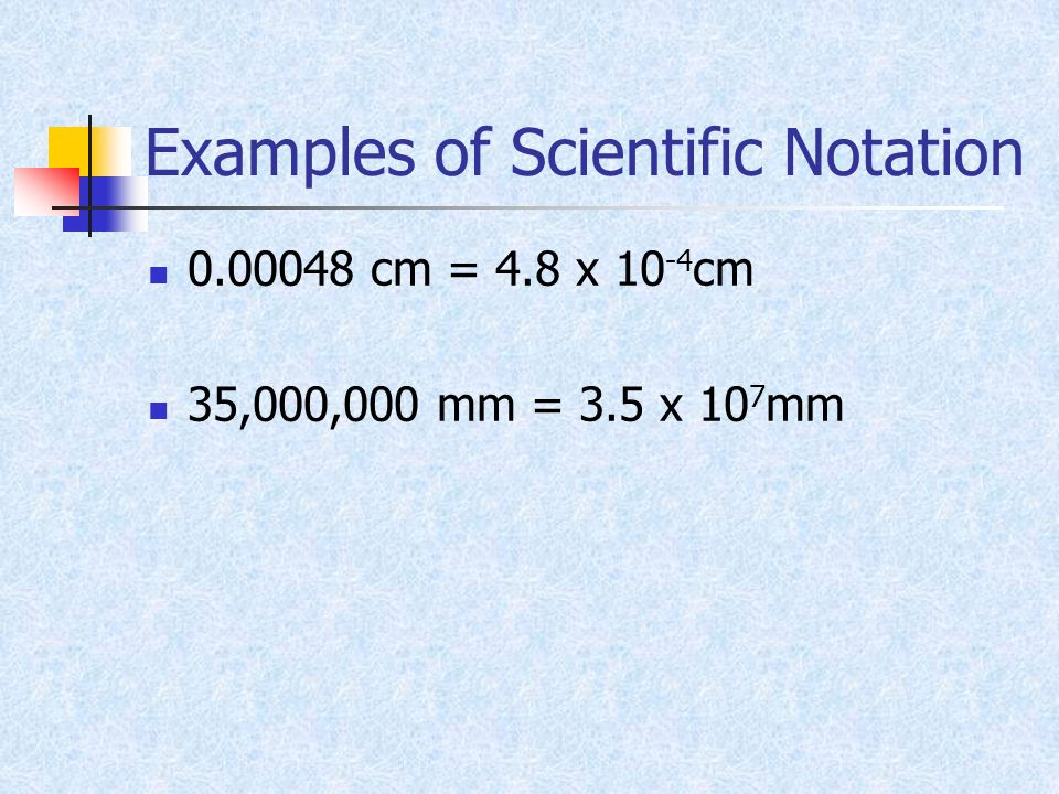 Examples of Scientific Notation