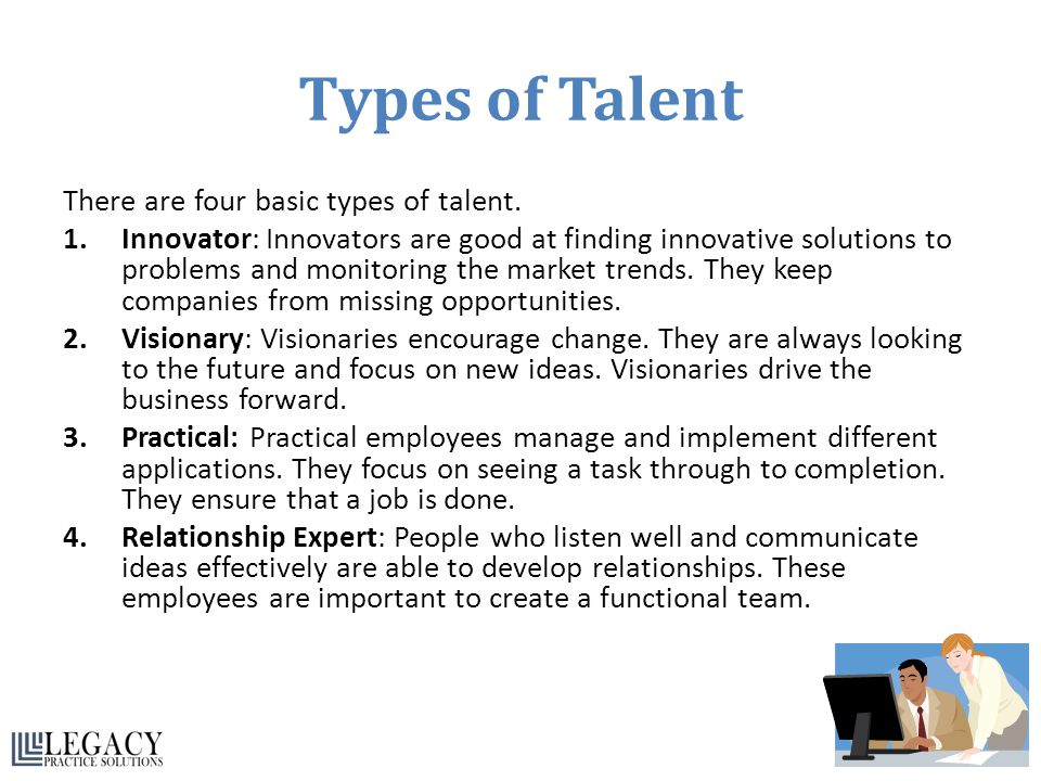 Types of Talent There are four basic types of talent.
