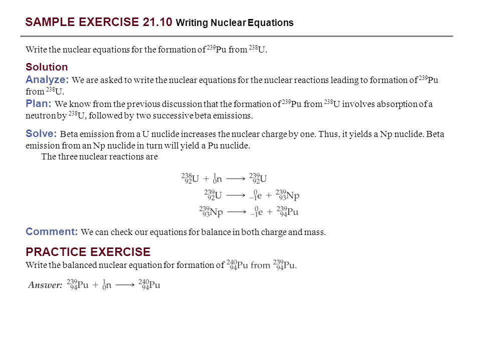 SAMPLE EXERCISE 21.10 Writing Nuclear Equations