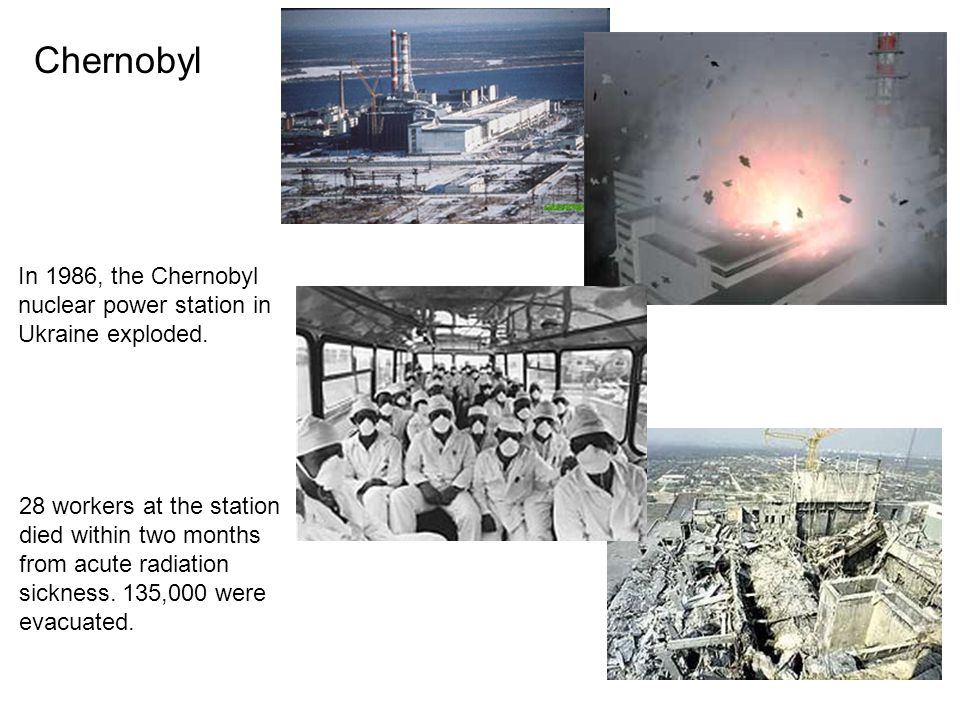 Chernobyl In 1986, the Chernobyl nuclear power station in Ukraine exploded.