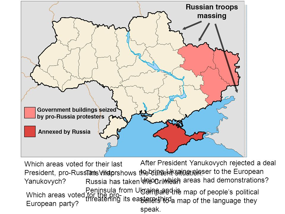 Which areas voted for their last President, pro-Russian Viktor Yanukovych