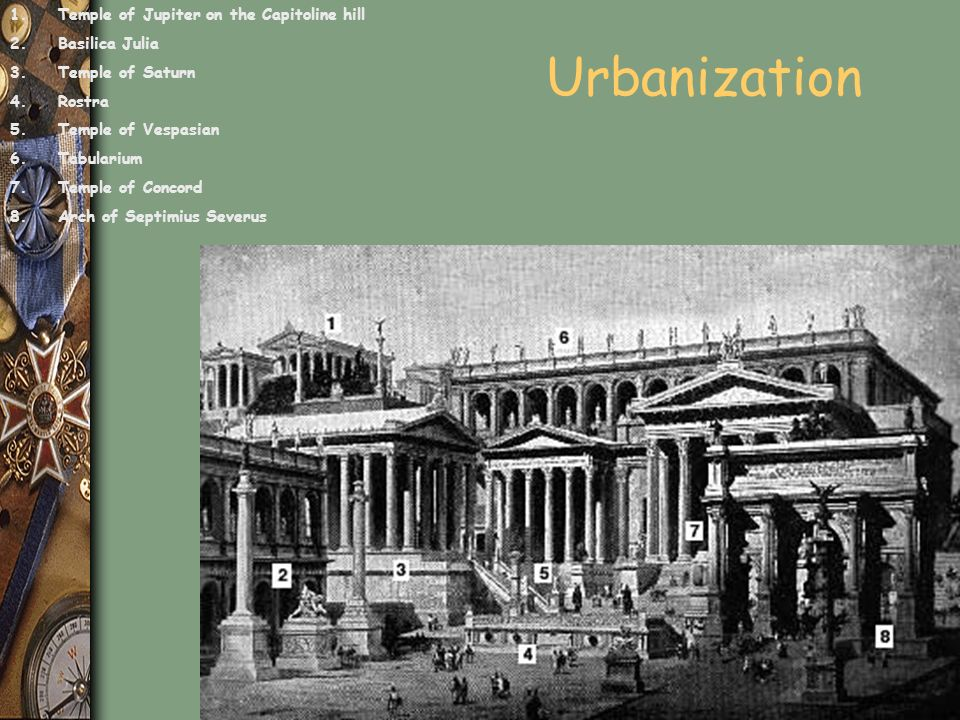 Urbanization Temple of Jupiter on the Capitoline hill Basilica Julia