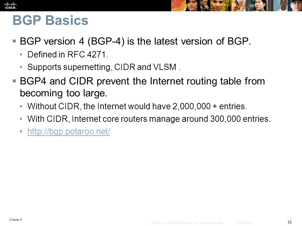 BGP Basics BGP version 4 (BGP-4) is the latest version of BGP.