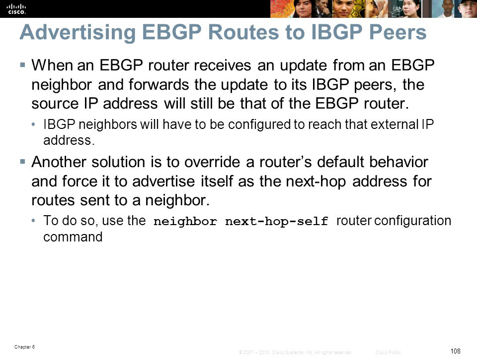 Advertising EBGP Routes to IBGP Peers