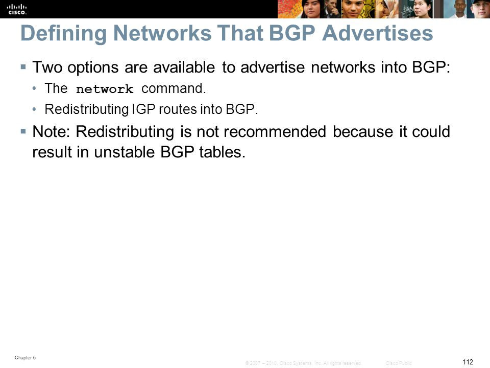 Defining Networks That BGP Advertises